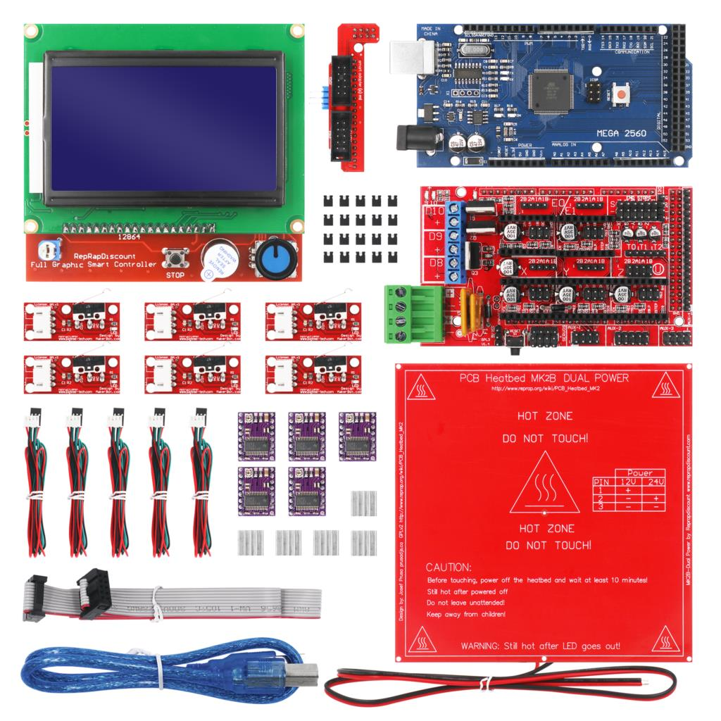 CNC 3D Printer Kit With Mega 2560 Board,RAMPS 1.4,DRV8825,LCD 12864,Heatbed MK2b For Arduino