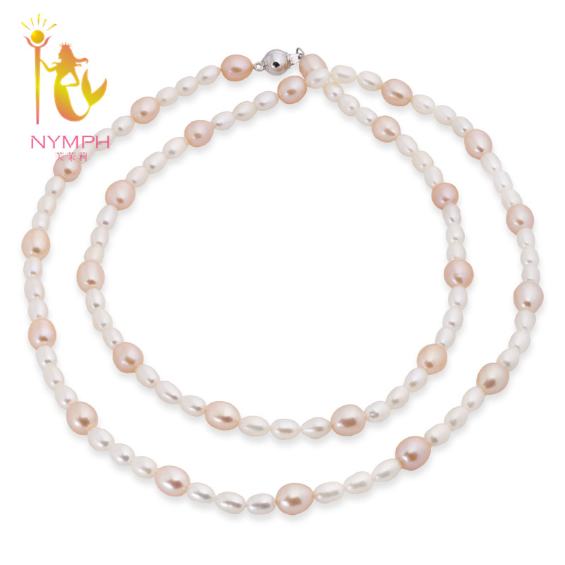 [NYMPH]Long Pearl Necklace Fine pearl jewelry Real Freshwater Pearl Trendy Choker Necklace For Women Party Anniversary X121 trendy layered rhinestone faux pearl necklace for women