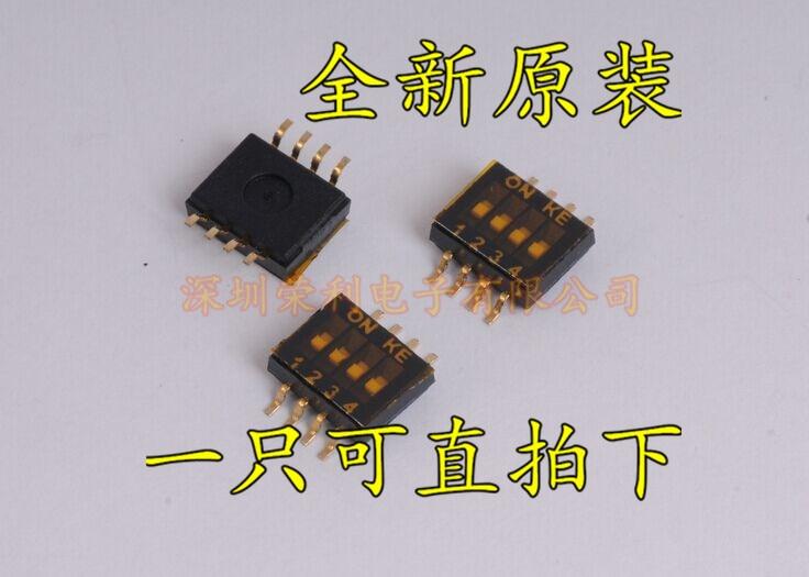 20pcs/lot DSHP04TSGER SMD 4P DIP switch black SMD KE 1.27MM pitch new original