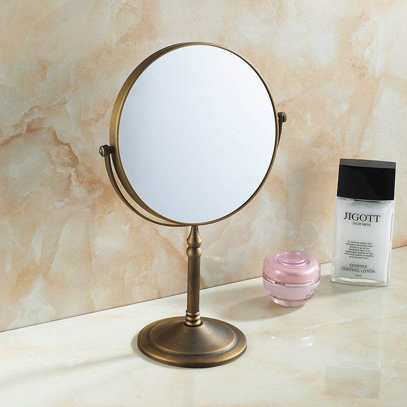 Bathroom Magnifying Makeup Mirror, Double-Sided 1X/3X, Extendable Folding Arm, Wall Mounted Vanity Round Mirrors, Antique Brass free shipping 9wall mounted round 3x 1x magnifying bathroom mirror led makeup cosmetic mirror lady s private mirror bm003