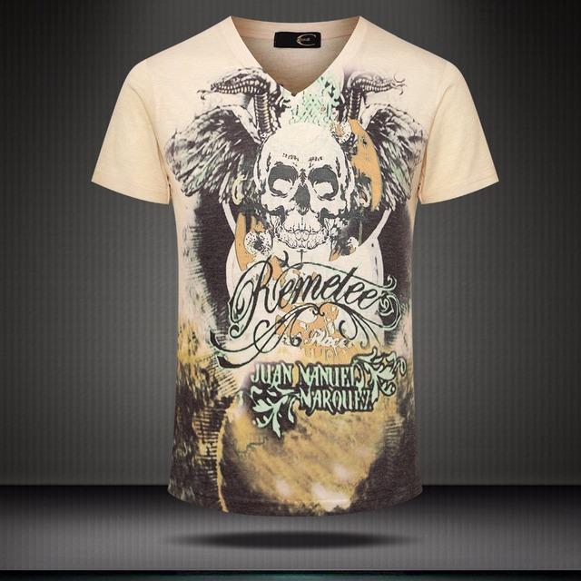 2016 New Arrival Fresco Crânio 3D Impresso T Shirt Homens Verão Quadril Hop Moda Homens Slim Fit V Neck Algodão Camiseta Roupas Masculinas