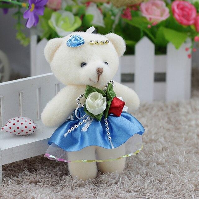 12 pçs/lote 12 CENTÍMETROS Kawaii Pequenos Ursos de Pelúcia Recheado De Pelúcia Mini Brinquedo de Pelúcia-Urso dos desenhos animados bouquet de casamento brinquedo das crianças pingente de chave telefone