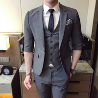 MarKyi 2017 Fashion Half Sleeve Men Suits And Blazers Slim Fit Good Quality Mens Designer Clothes