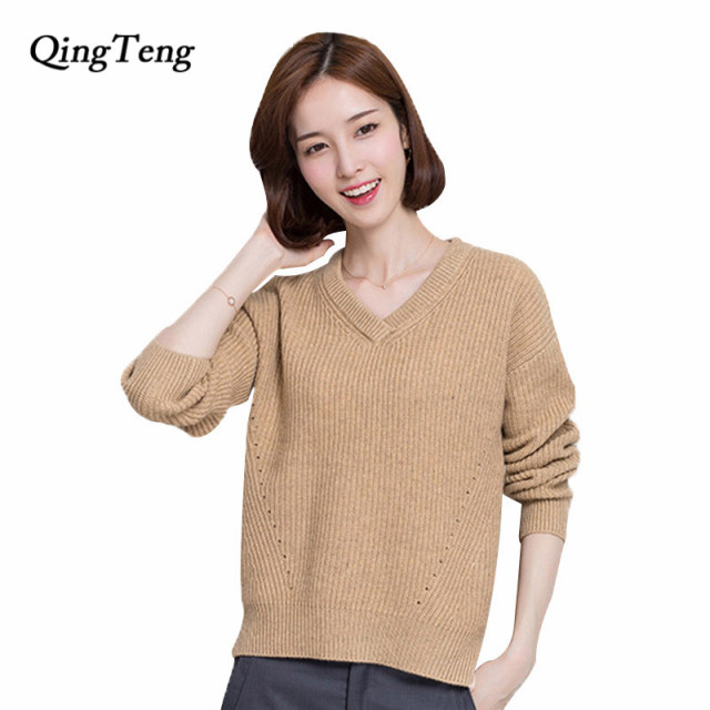 0acf43065b QingTeng Double Warm Sweater Female 100 Pure Cashmere Thick Knitted N Neck  Winter Goat Cashmere Sweaters Women Pullover Tops