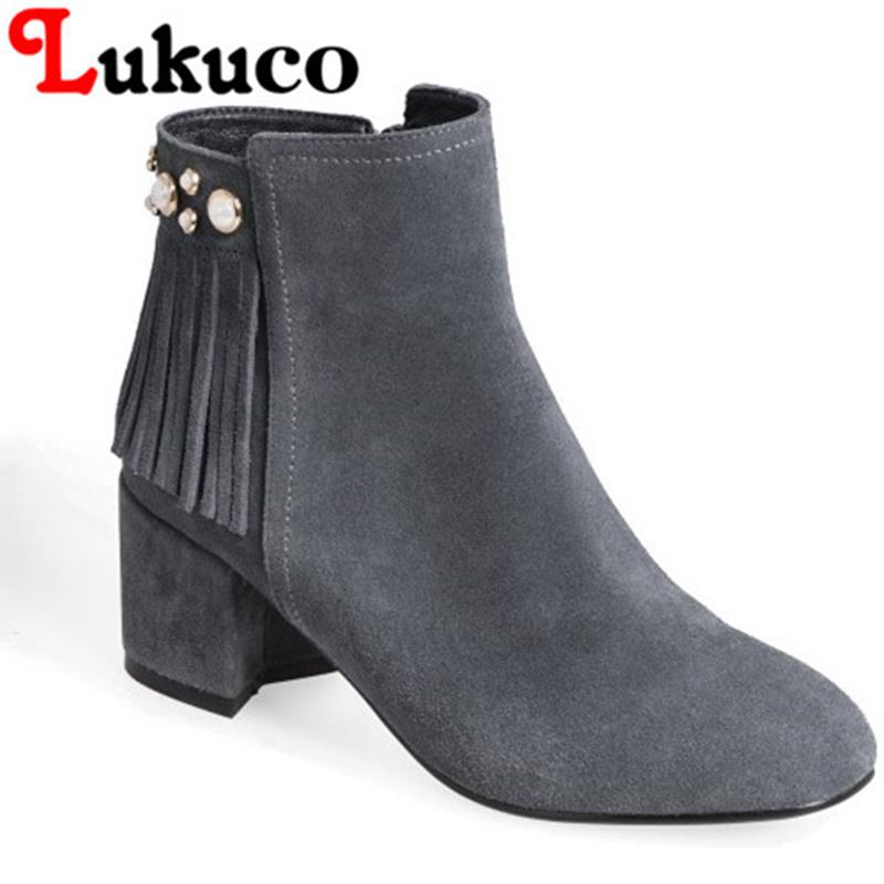 Elegant 2017 Lukuco women ankle boots pure color round toe zipper cool design high quality genuine leather shoes free shipping