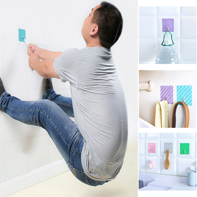 10 Pac Wall Mounted Magic Sticky Hook Bathroom Towel Hooks Hanging Holder Multi Function Hanger Accessories