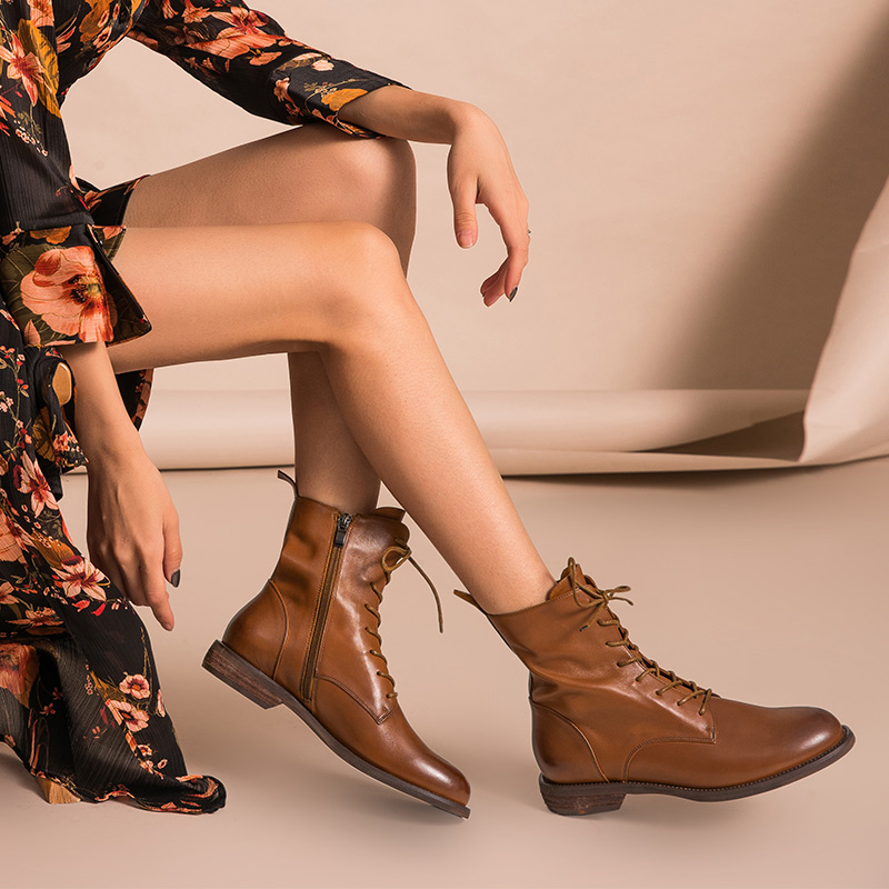 BeauToday Ankle Boots Women Genuine Leather Lace Up Side Zipper Top Quality Autumn Winter Lady Shoes Handmade 02012 - 4