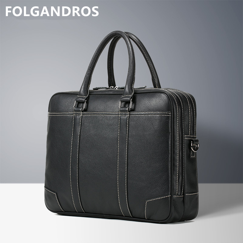 Business-Briefcase Tote Shoulder-Bag Computer Document Office Genuine-Leather Male Brand