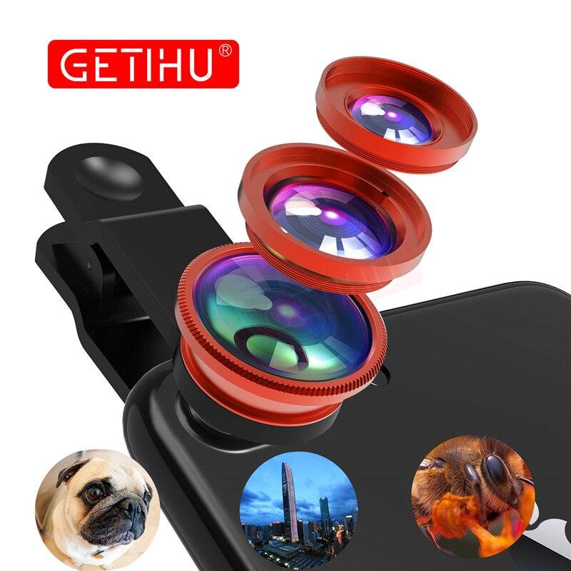 Универсальный Рыбий глаз 3in1 + зажим рыбий объектив камеры смартфона широкоугольный Макро мобильного телефона Ленц для iPhone 7 6 5 4 Смартфон