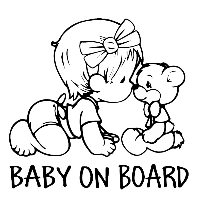 22.9*21.7CM BABY ON BOARD Lovely Bear Car Styling Decals Cartoon Vinyl Car Sticker Black/Silver C9-2326