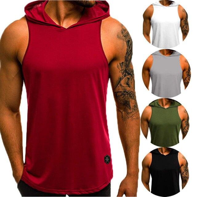 Men's Sleeveless Workout Hooded Tank Tops 1