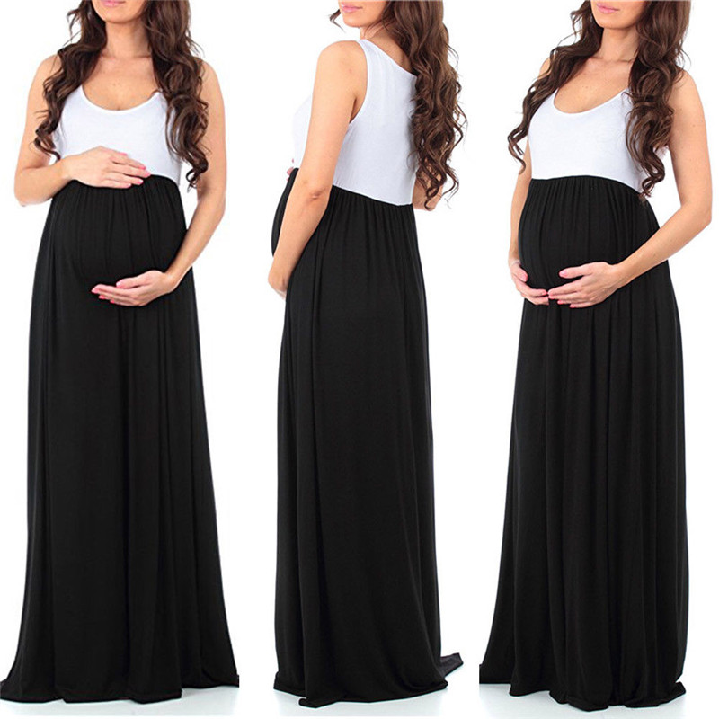 Maternity Photography Props Maxi Dress Maternity Gown Maternity Dresses Fancy Shooting Photo Summer New Patchwork Pregnant Dress