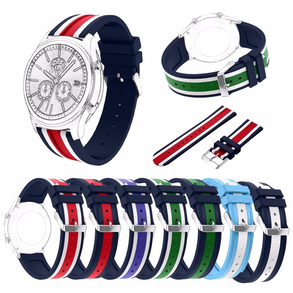 For Samsung Gear S3 Frontier/Classic 46mm Watch Band 22mm Silicone Watch Replacement Strap with Stainless Steel Clasp Buckle silicone sport watchband for gear s3 classic frontier 22mm strap for samsung galaxy watch 46mm band replacement strap bracelet