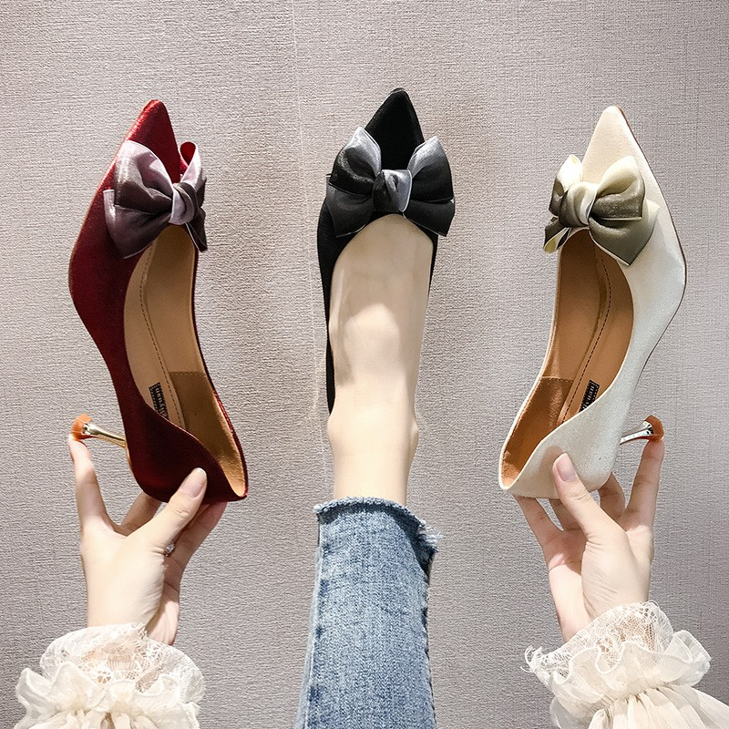 Thin High Heels Sexy Ladies Pumps Women Shoes 2019 Autumn Pointed Toe Bow Knot Shallow Wedding Shoes Woman Pumps Office Shoes 27