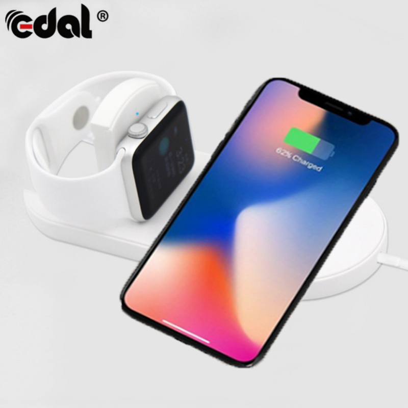 EDAL Foldable Quick QC3.0 Wireless Charger 10W Fast Charging Simultaneously Chargers for Apple Watch For iphone X 8 Samsung S9