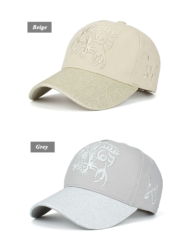 Embroidered Chinese Dragon Baseball Cap - Beige Cap and Grey Cap Front Angle Views