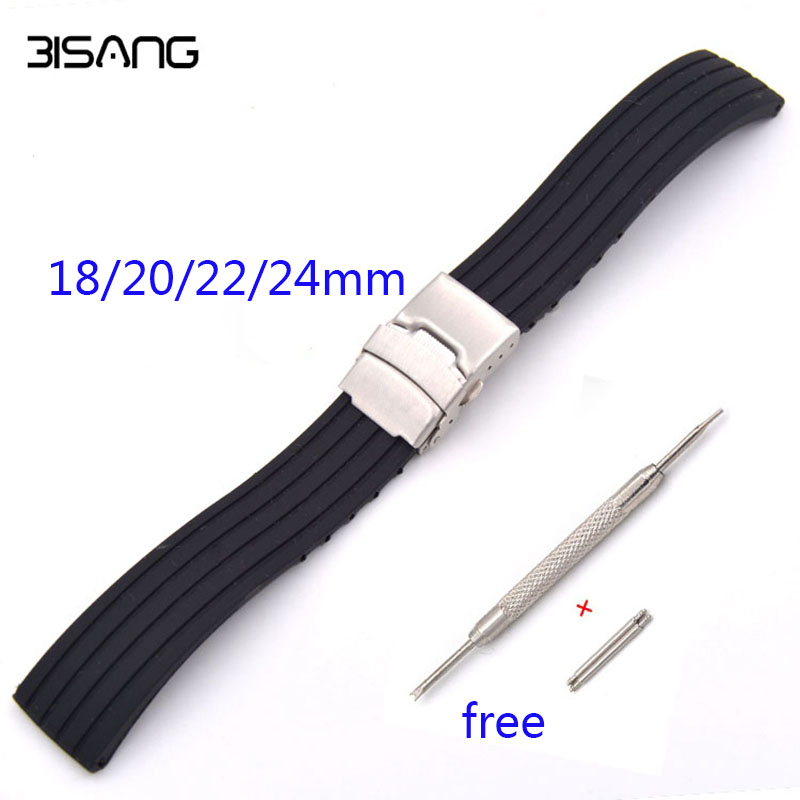 Black Sports Waterproof Folding Buckle Strap Stripe 18 20 22 24mm Soft Silicone Rubber Watchband For