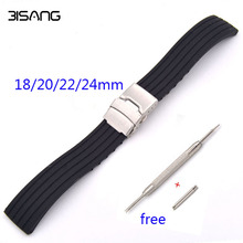 Black Sports Waterproof Folding Buckle Strap Stripe 18/20/22/24mm Soft Silicone Rubber Watchband For casio Watch Accessories