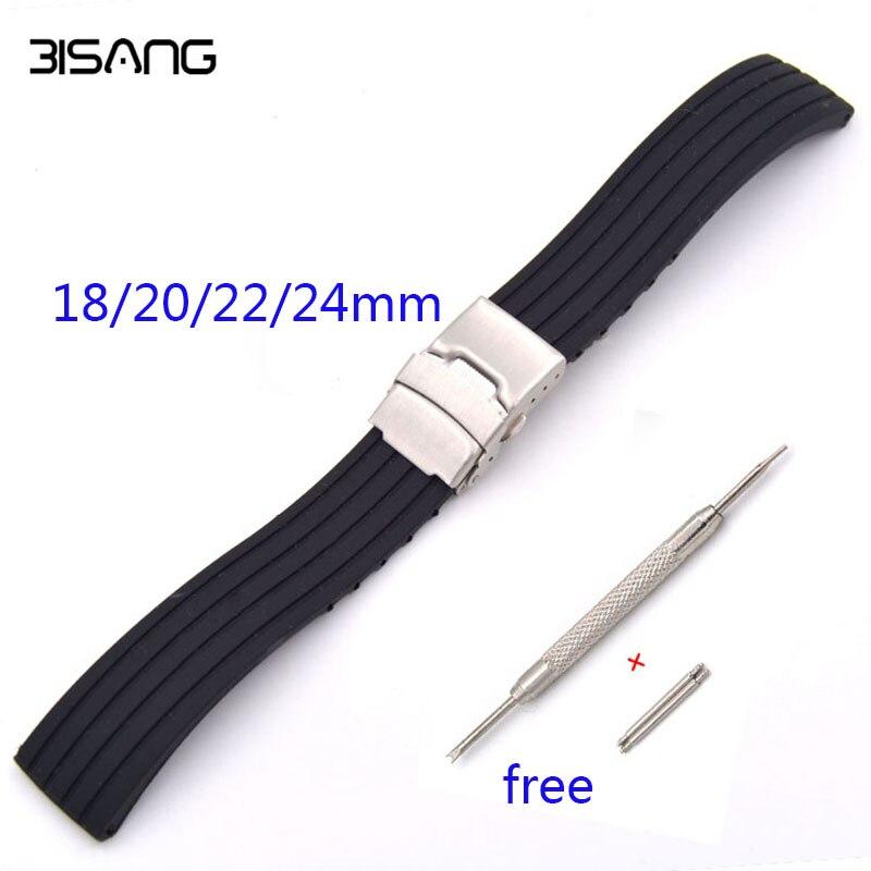 Olahraga tahan air lipat gesper tali hitam stripe 18 20 22 24mm lembut  silicone karet gelang jam untuk casio watch aksesoris 4ed788b068