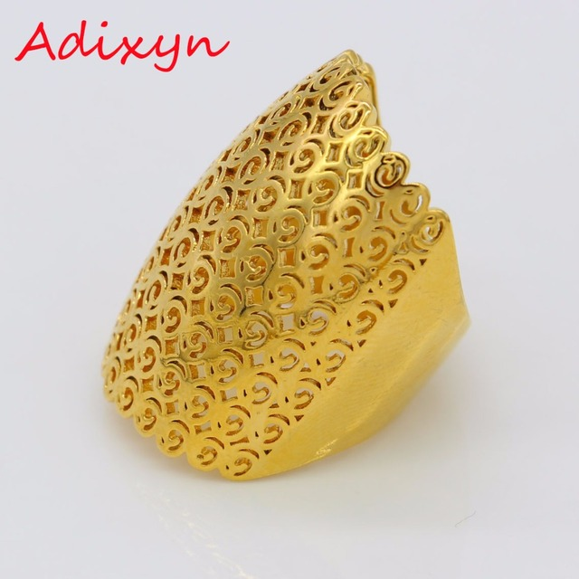 Adixyn African Rings For Women Men Gold Color Wedding Bands Jewelry Arab Party N0258A
