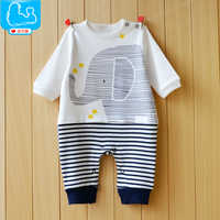 YiErYing Baby Romper Spring and Autumn Cartoon Elephant Newborn Long Sleeved 100%cotton Lovely Jumpsuits