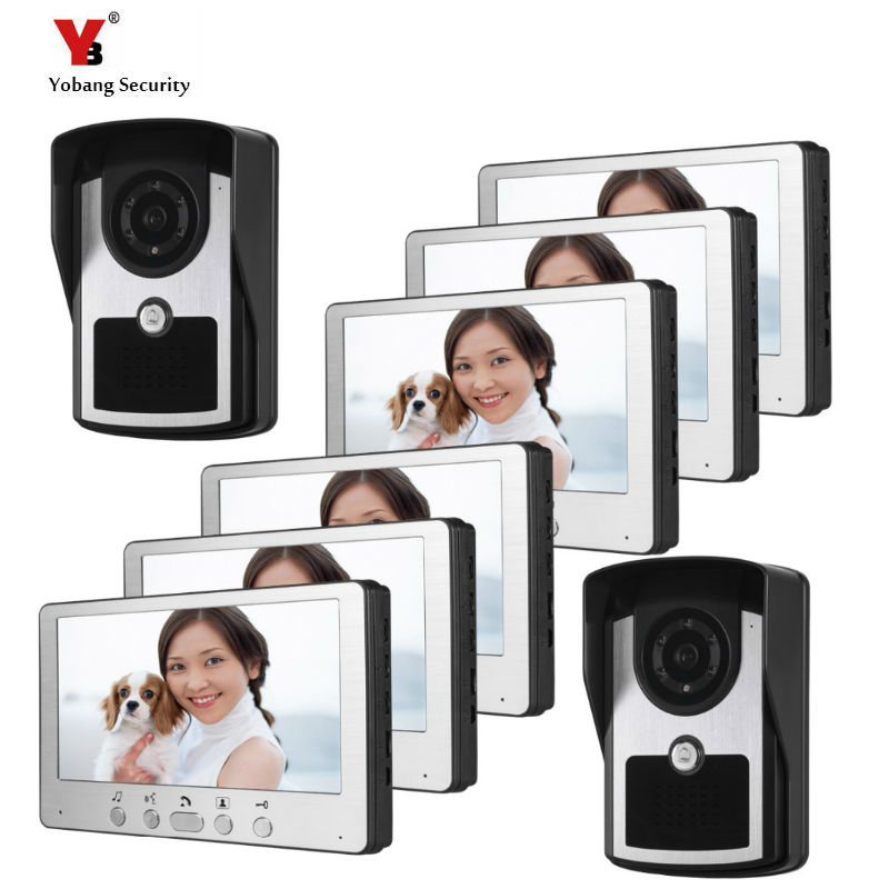 Wired 7'' Video Intercom System Doorphone 2 Camera With Door Bell Color Video Door Phone 6 Monitors For Multi- Apartments/ Home