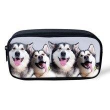 Kawaii Cosmetic Bags Women Animal Husky Dog Print Children Pencil Pen Case Make Up Bag Zipper Pouch Children Girls Storage Bag