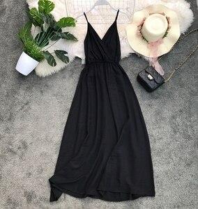 GLAUKE черное платье на бретельках, лето 2020, женское платье, длинные платья, бохо с v-образным вырезом без рукавов для пляжной вечеринки, макси-п...