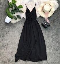 GLAUKE Sling black dress summer 2020 female dress vestido feminino Long Dresses Boho V-Neck Sleeveless Party Beach Maxi Dress maxi cami dress with fringing black