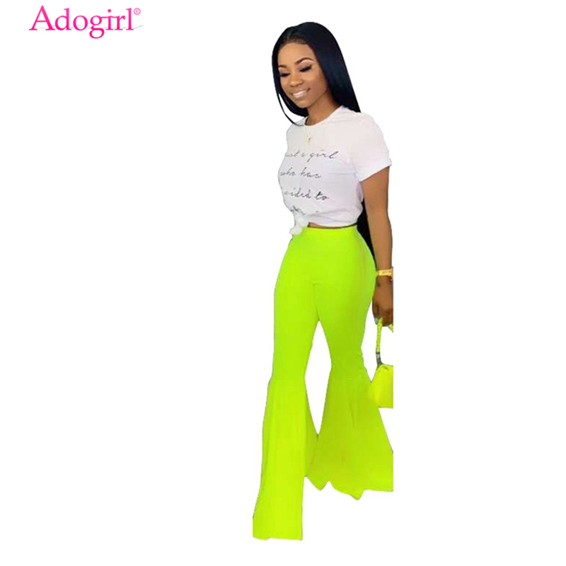Adogirl S-3XL Women Fashion Flare Pants Fluorescent Color High Waist Boot Cut Trousers Quality Female Casual