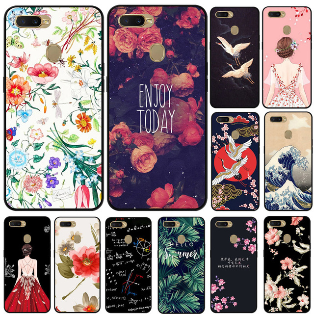 For OPPO A7 Case Cartoon Printed Soft Black Silicone TPU Cover Capa For OPPO AX7 A7 A 7 CPH1901 OPPOA7 6.2 inch Phone Cover