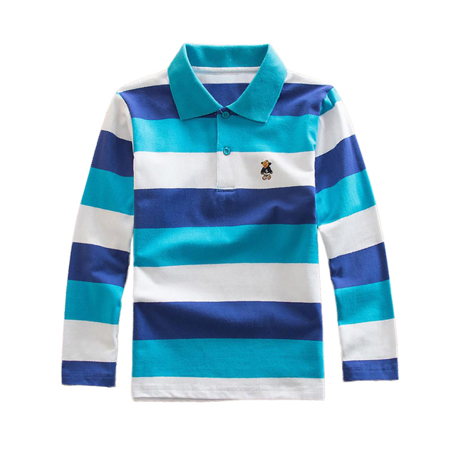 f05c1ace1 Spring Fall Boys Long Sleeve Shirt Kids Tops Striped Polo Shirt Breathable  Tees Clothes 3 4 5 6 7 Years Children Cotton Clothing