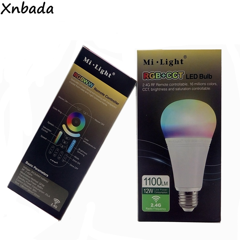 Mi.light 12W E27 Led Bulb Dimmable LED Bulb Light RGB + Warm White + White (RGB+CCT) Spotlight Indoor Decoration AC85-265V
