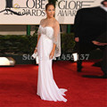 Cuadro verdadero Vestido de Jennifer Lopez Blanco en los Globos de Oro Premios Red Carpet Vestido Recto Con Rebordear Vestidos de las Celebridades Envoltura