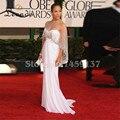 Vestidos de Imagem Real Formal Vestido de Jennifer Lopez Branco Vestido Em Linha Reta Com Beading Envoltório Celebrity Dresses