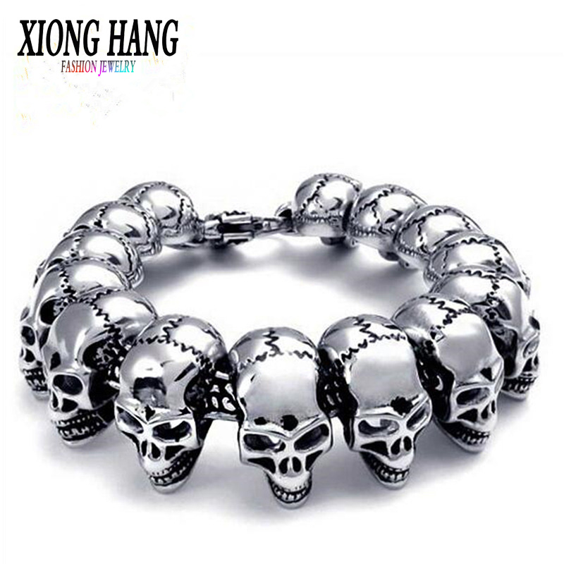 XiongHang Skull Bracelet 316L Stainless Steel Men Bracelet Exaggerated Jewelry For MenXiongHang Skull Bracelet 316L Stainless Steel Men Bracelet Exaggerated Jewelry For Men