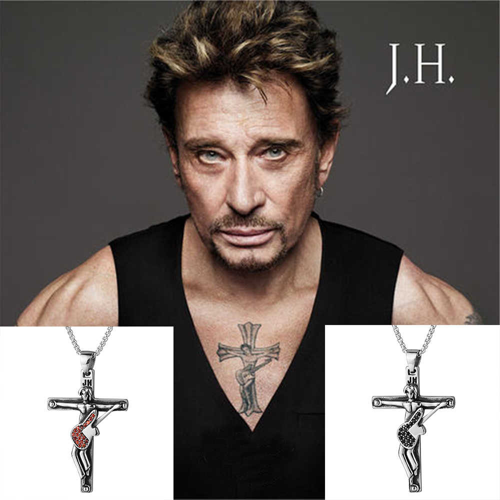316 Stainless Steel Punk Necklace Rocker Singer Johnny Hallyday Cross Pendant Necklaces CZ Guitar Christian Crucifix