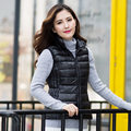 Winter women vest fashion white duck down slimming vest turn down collar solid color plus size high quality top 4 color trendy