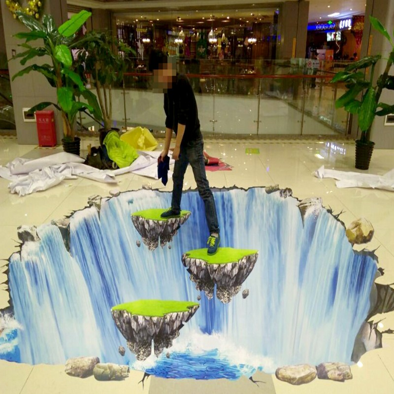 где купить Free Shipping 3d floor painting waterfall suspended boulders bathroom kitchen office study self-adhesive floor wallpaper mural дешево