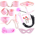 Event BDSM Sex Toys Pink  Ball Gag Whip Blindfold handcuff  PU Leather collar lash nipple cover Sex Bondage sex Party Supplies