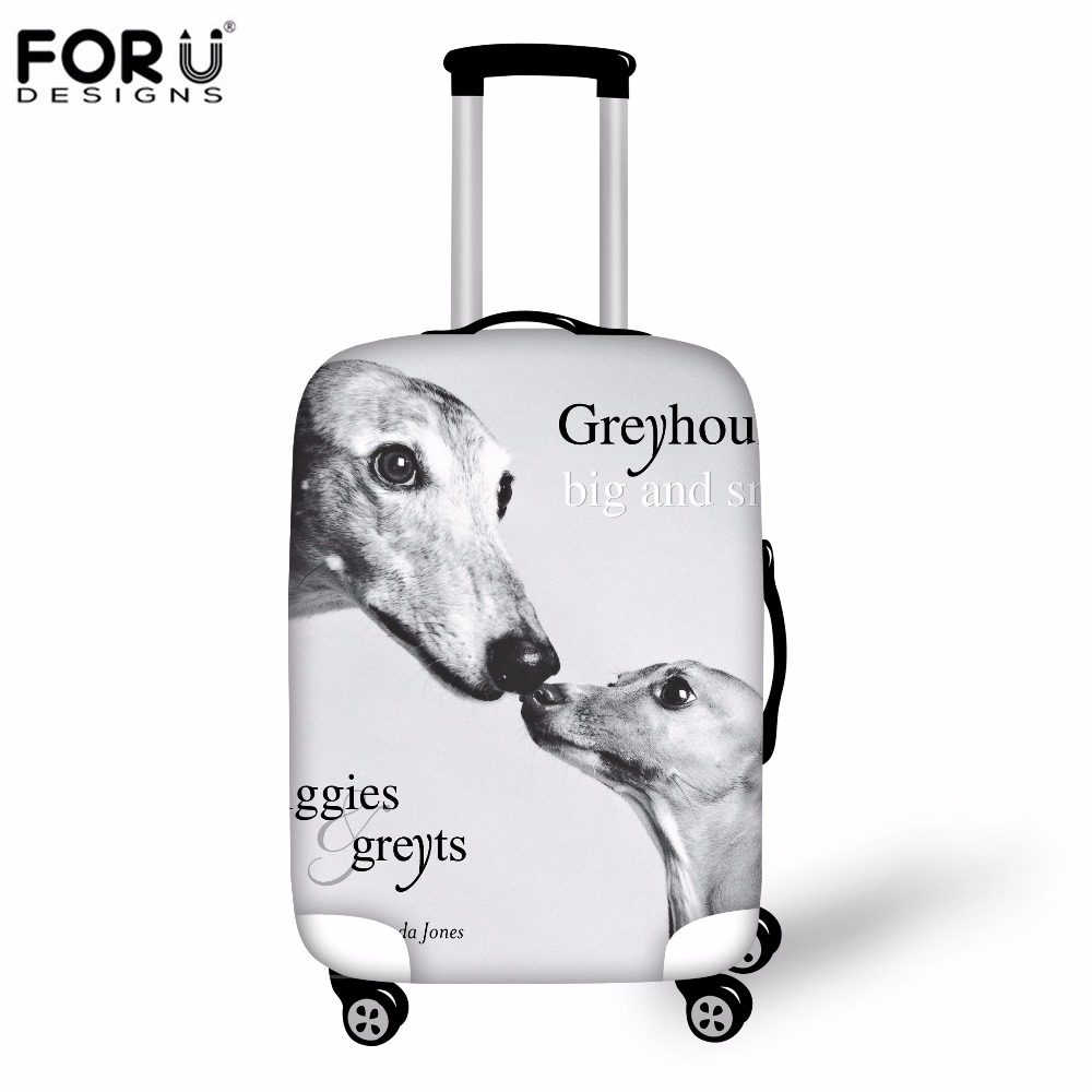 FORUDESIGNS Dustproof Elastic Luggage Protective Cover 3D Greyhounds Dog Waterproof Suitcase Covers For 18-30 Inch Trolley Case