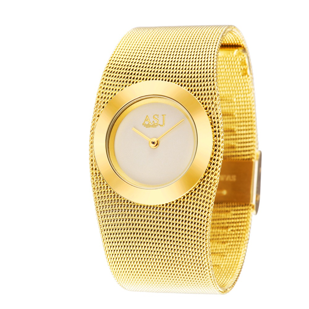Ladies Full Steel Gold Bracelet Watch, Japan Movt Quartz Watch, Woman Dress Wristwatch