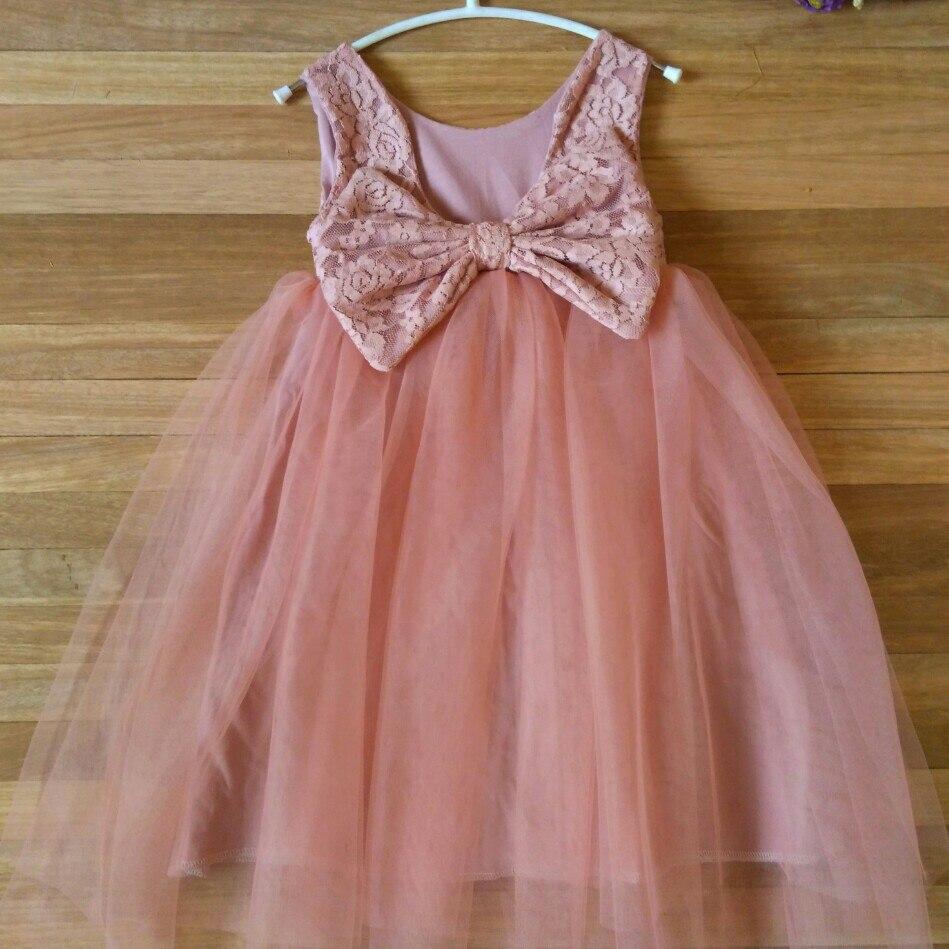 6f0d2adfd € 73.16 |2018 vestidos sin espalda para niñas princesa Rosa lazo tul  vestido para boda Vintage Boutique piedra traje 18PHW0058 en Vestidos de  Mamá ...