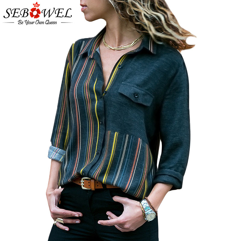 SEBOWEL Colorblock Long Sleeve Striped   Blouse     Shirts   Woman Fashion Spring Autumn 2019 Female Patchwork High Low   Blouses     Shirt