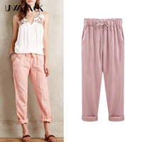 Uwback Women Casual Pants Ankle Length 2017 New Autumn Female Linen Trousers Loose Oversized Pants OL