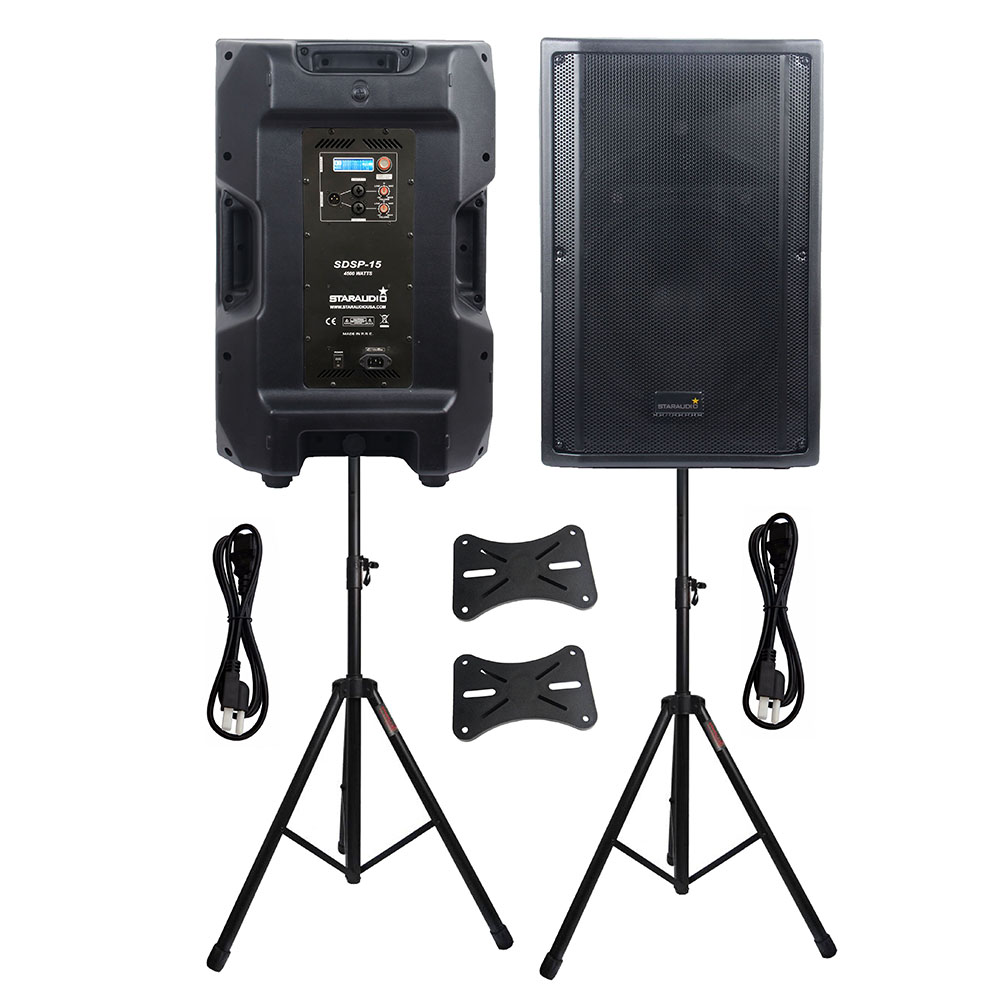 STARAUDIO Dual 15 PA 4500W 4 Ohm DSP Active DJ Powered Audio Speakers Stage KTV Karaoke Speakers Party Speaker Stands SDSP-15STARAUDIO Dual 15 PA 4500W 4 Ohm DSP Active DJ Powered Audio Speakers Stage KTV Karaoke Speakers Party Speaker Stands SDSP-15