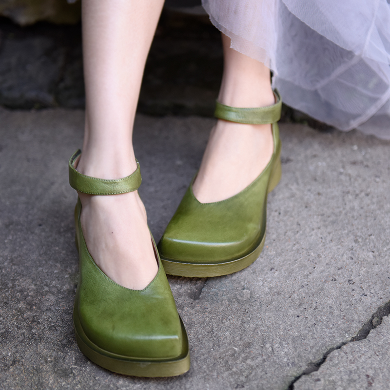 Artmu Original Thick Heel Mary Jane Shoes Handmade Genuine Leather Women Shoes Hook Loop Green Shoes Fashion 2019 New Design-in Women's Pumps from Shoes    1