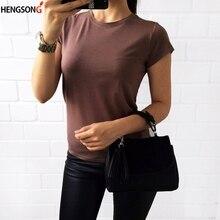 6763dc0d1c1 HENGSONG 4 Colors S-2XL Plain T Shirt Women Summer Elastic Basic T-shirts