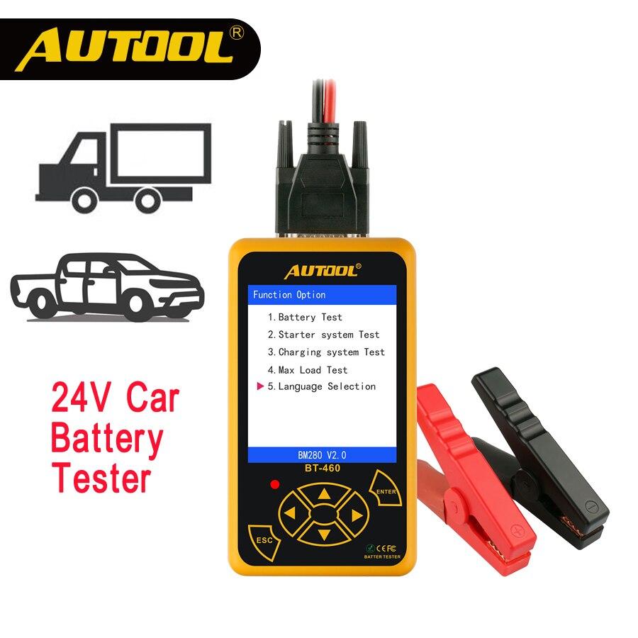 AUTOOL BT460 de batería de coche de 12 V 24 V de automóviles de servicio pesado prueba de batería analizador Multi-idiomas vehículo celular pruebas de herramientas de reparación de