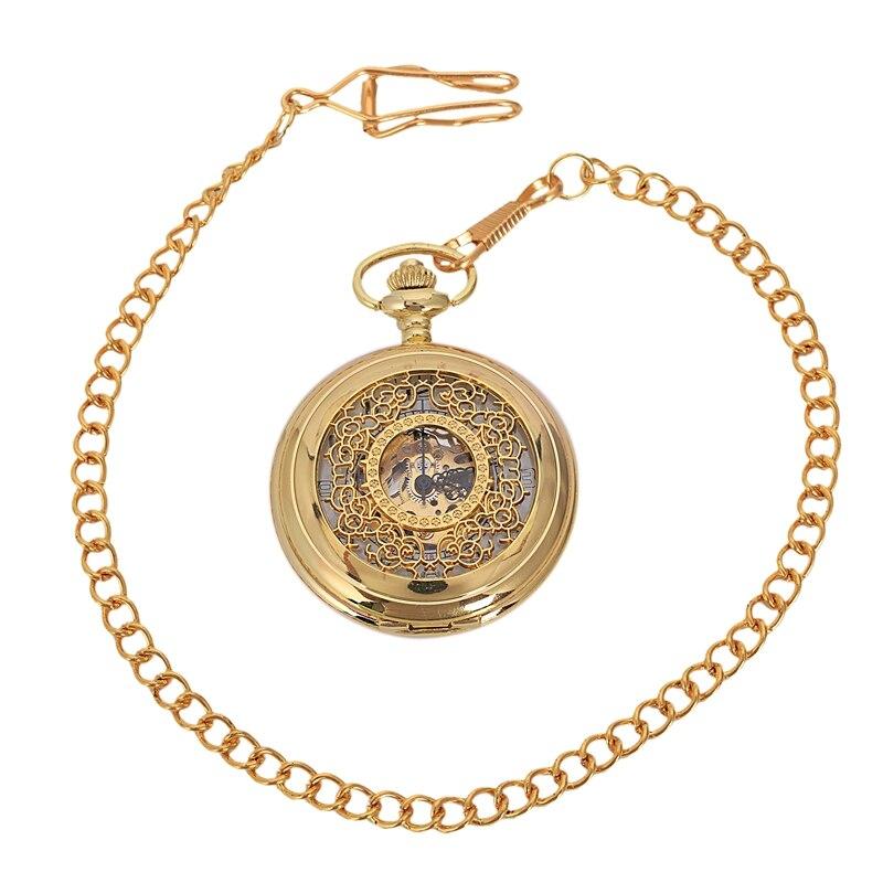 Retro Steampunk Mechanical Pocket Watch Bronze Flower Engraved Fob Chain Package Men Women Flip Watches Skeleton Clock-Gold